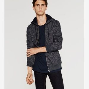 ⬇️ [Zara Man] Zip Up Marled Hoodie Sweater - A163